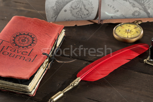 Utazás napló öreg napló tele textúra Stock fotó © fotoedu