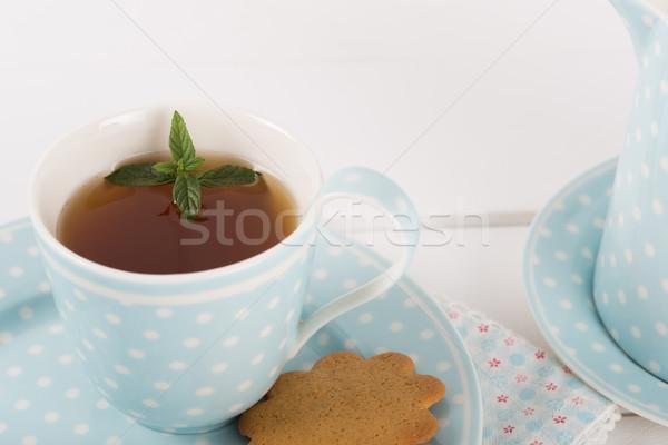 Tea sütik menta felszolgált porcelán csésze Stock fotó © fotoedu
