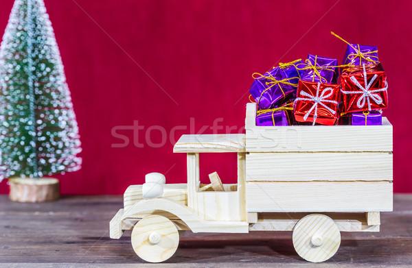 Teherautó ajándékok fából készült karácsony doboz tél Stock fotó © fotoedu