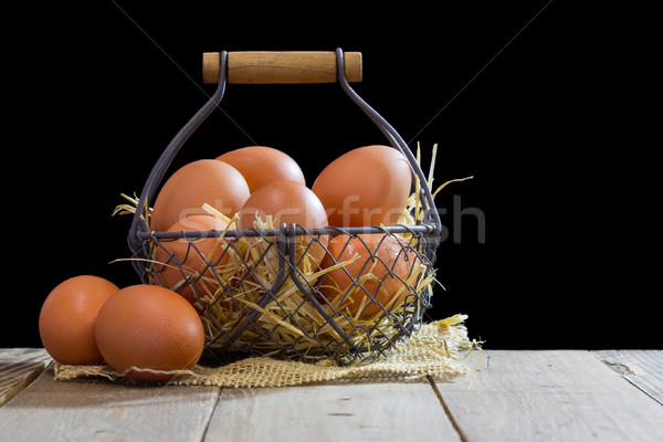 Wire basket with eggs Stock photo © fotoedu