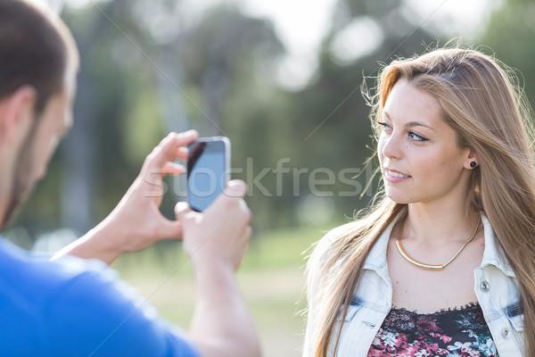 пару фото любителей парка Сток-фото © fotoedu