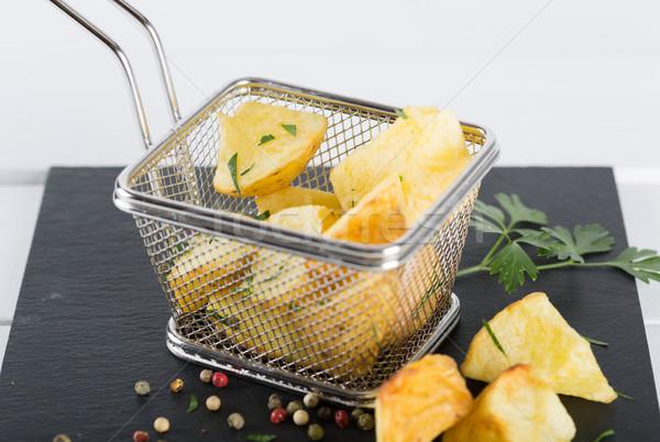 жареный картофель фри перец петрушка соль Сток-фото © fotoedu