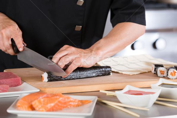 повар суши ресторан продовольствие пластина Сток-фото © fotoedu