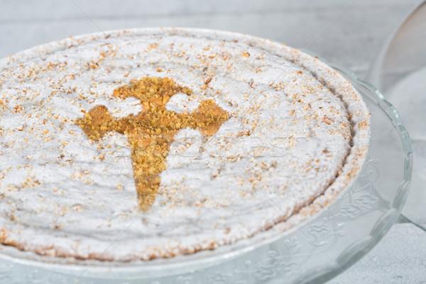 Santiago mandula torta finom kézzel készített friss Stock fotó © fotoedu