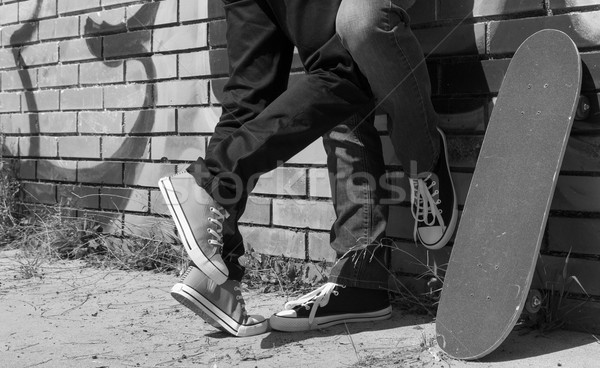Couple of guys with his skateboard Stock photo © fotoedu