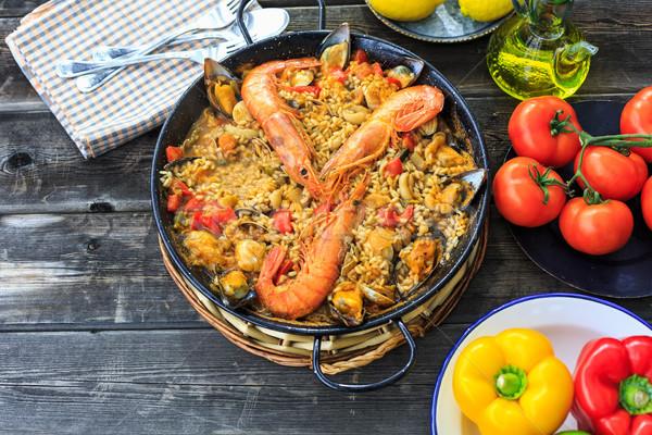 Delicioso mariscos arroz peces naranja Foto stock © fotoedu