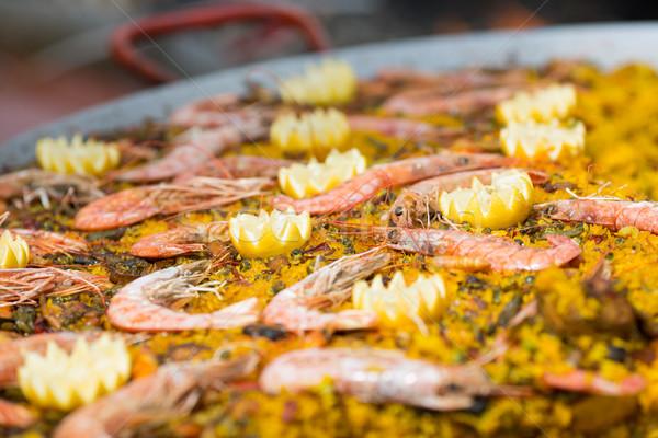 Zeevruchten oranje tomaat rijst plantaardige barbecue Stockfoto © fotoedu