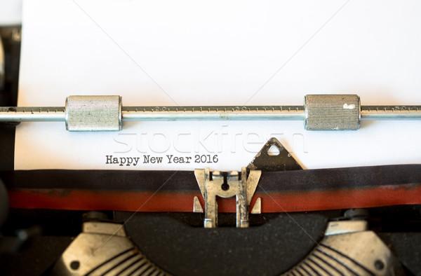Vintage máquina de escrever texto feliz ano novo 2016 teclado Foto stock © fotoedu