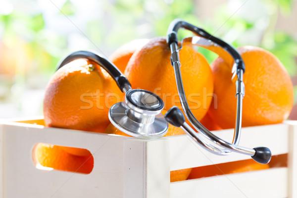 Caixa laranjas saúde bem-estar primavera comida Foto stock © fotoedu