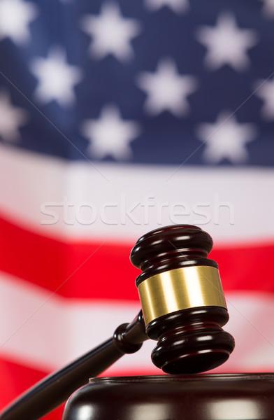 Bíró kalapács kalapács Egyesült Államok zászló háttér Stock fotó © fotoedu