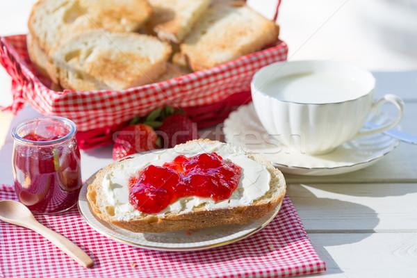 Reggeli tej sajt pirítós lekvár kenyér Stock fotó © fotoedu