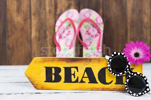древесины индикатор пляж вместе Сток-фото © fotoedu