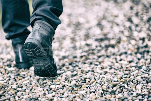 Piedi inoltrare persona stivali pietre uomo Foto d'archivio © fotoedu