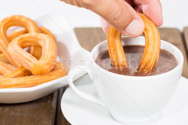 Csokoládé tipikus spanyol desszert háttér reggeli Stock fotó © fotoedu