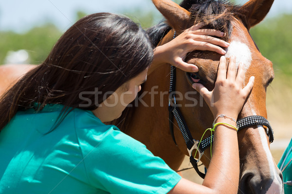 ветеринарный фермы лошадей один глаза улыбка Сток-фото © fotoedu