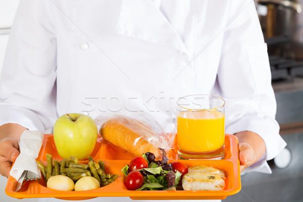 étel tálca iskola szakács étel nők Stock fotó © fotoedu