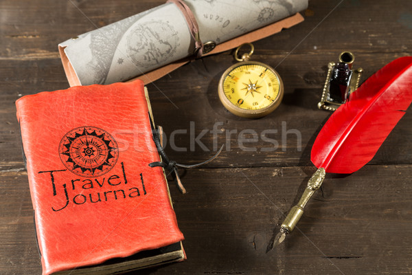 Reizen tijdschrift oude dagboek vol textuur Stockfoto © fotoedu
