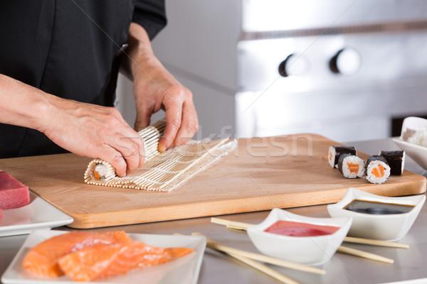 повар суши ресторан продовольствие рыбы Сток-фото © fotoedu