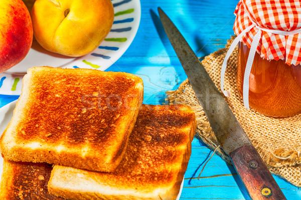 Barack lekvár házi készítésű pirítós reggeli étel Stock fotó © fotoedu