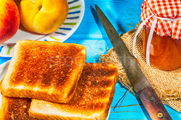 Perzik jam eigengemaakt toast ontbijt voedsel Stockfoto © fotoedu