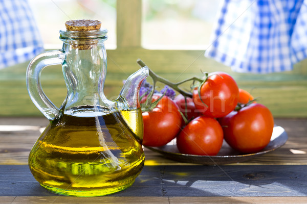 Olive oil and tomatoes Stock photo © fotoedu