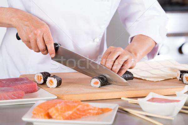 повар суши ресторан рук продовольствие Сток-фото © fotoedu