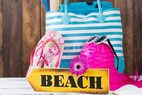 Strandszatyor táska tengerpart kellékek fából készült index Stock fotó © fotoedu