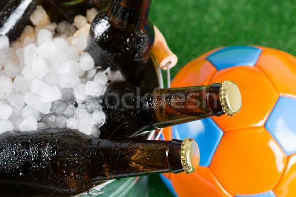 Hideg futball sör vödör tengerpart égbolt Stock fotó © fotoedu