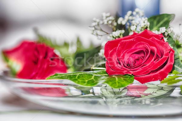 Centro ornamento rosa flores água Foto stock © fotoedu