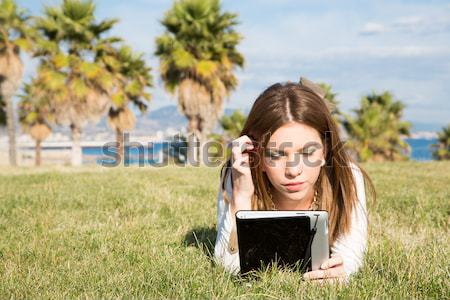 Girl with a tablet Stock photo © fotoedu