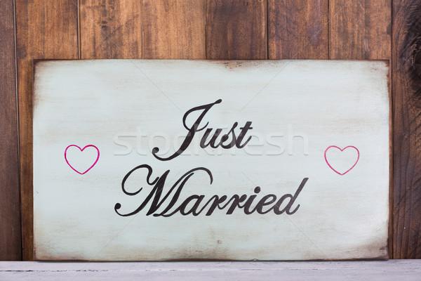 Poszter friss házasok akasztás fából készült fal esküvő Stock fotó © fotoedu
