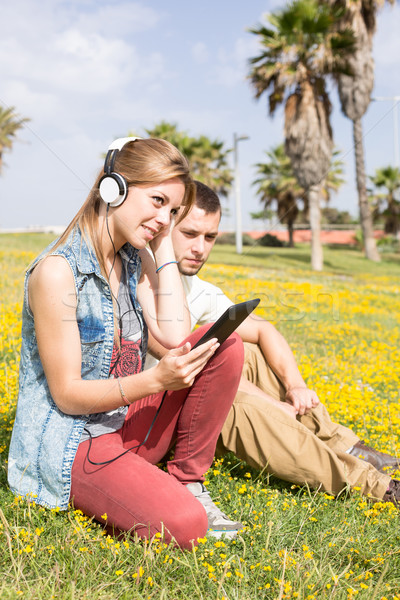 Couple listening to music Stock photo © fotoedu