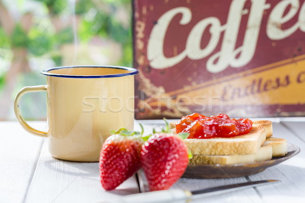 завтрак кофе молоко тоста клубника Jam Сток-фото © fotoedu