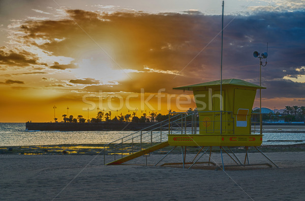 рельеф пост пляж Канарские острова закат морем Сток-фото © fotoedu