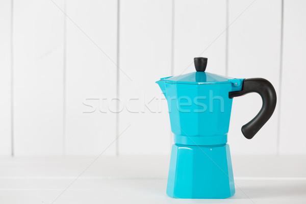 Klasszikus kávé kék fából készült konyha retro Stock fotó © fotoedu