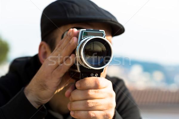 Kamera lövöldözés klasszikus film kamera szeretet park Stock fotó © fotoedu