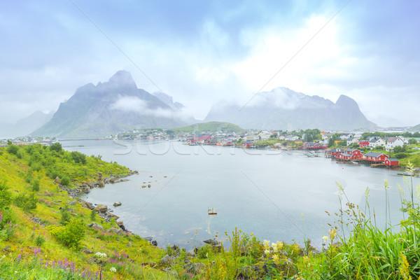 Сток-фото: Норвегия · острове · мнение · облака · морем · лет