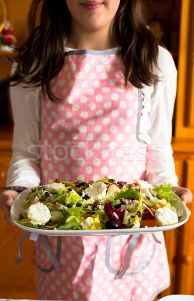 Girl with a salad Stock photo © fotoedu