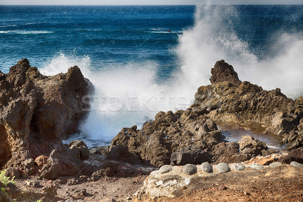 Rocky landscape of the island of Lanzarote Stock photo © fotoedu