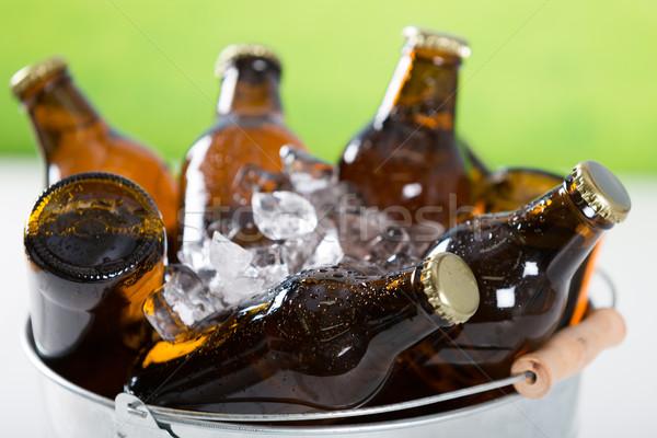 свежие пива холодно бутылок льда небе Сток-фото © fotoedu