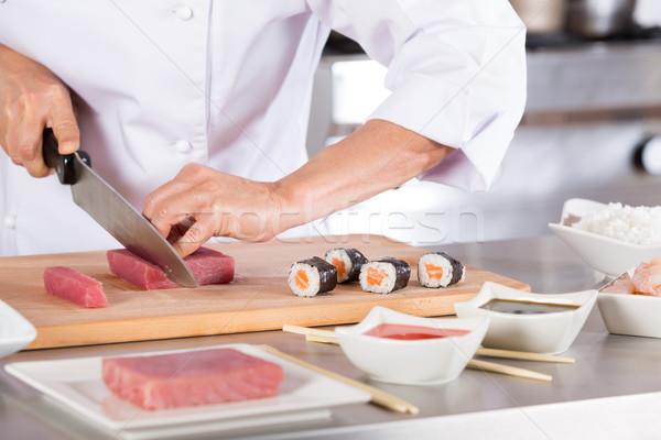 повар суши ресторан женщину рук Сток-фото © fotoedu