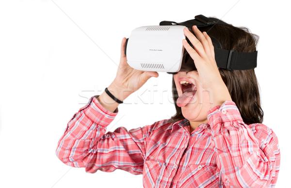 Kız sanal gerçeklik gözlük beyaz teknoloji Stok fotoğraf © fotoedu