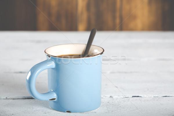 Copo xícara de café café azul vintage antigo Foto stock © fotoedu
