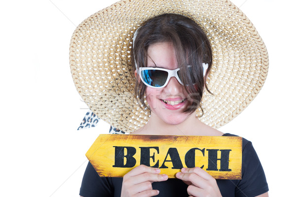 Menina adolescente quadro seis praia cartaz exibir Foto stock © fotoedu