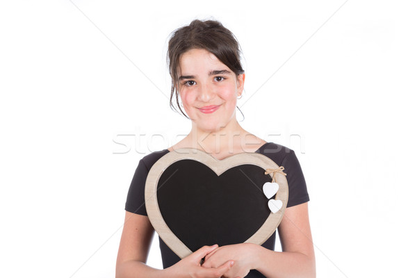 Muchacha adolescente pizarra bordo blanco mujer Foto stock © fotoedu