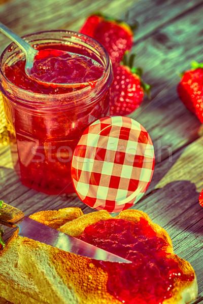 клубника Jam свежие тоста завтрак домой Сток-фото © fotoedu
