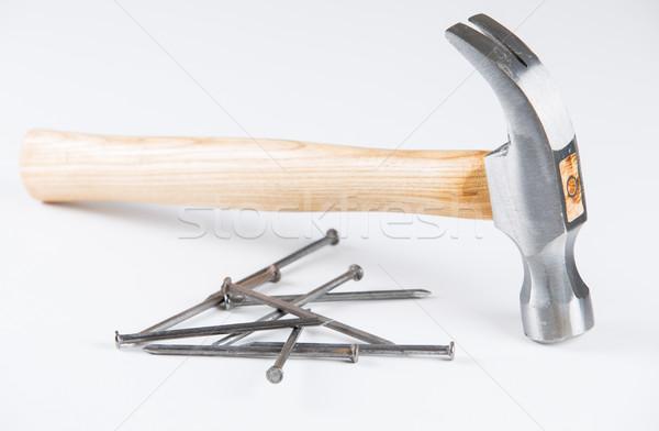 Martillo unas construcción blanco madera Foto stock © fotoedu