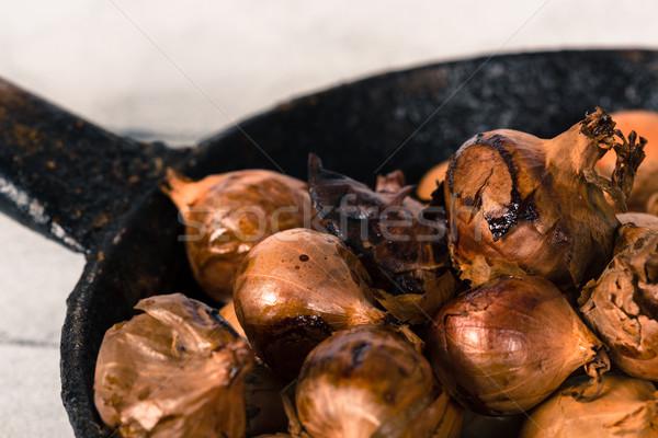 Kicsi hagymák sült finom sütő fa Stock fotó © fotoedu