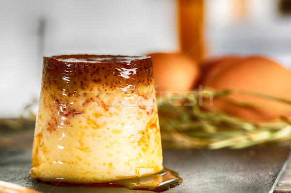 Casero mano natillas huevos leche fresca leche Foto stock © fotoedu