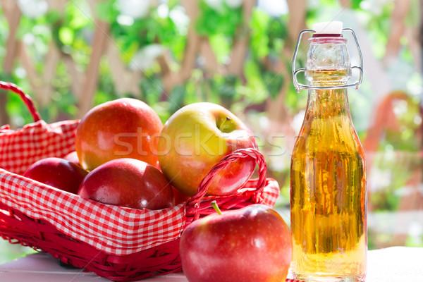 Appel cider azijn vers vruchten metaal Stockfoto © fotoedu